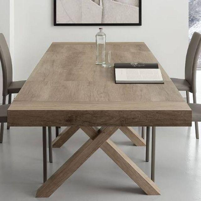Inside 75 Table repas extensible Brio finition chêne veiné 90 x 160 cm 2 allonges de 50 cm