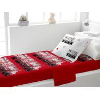Soleil D'OCRE - Parure de lit coton 1 place New York rouge