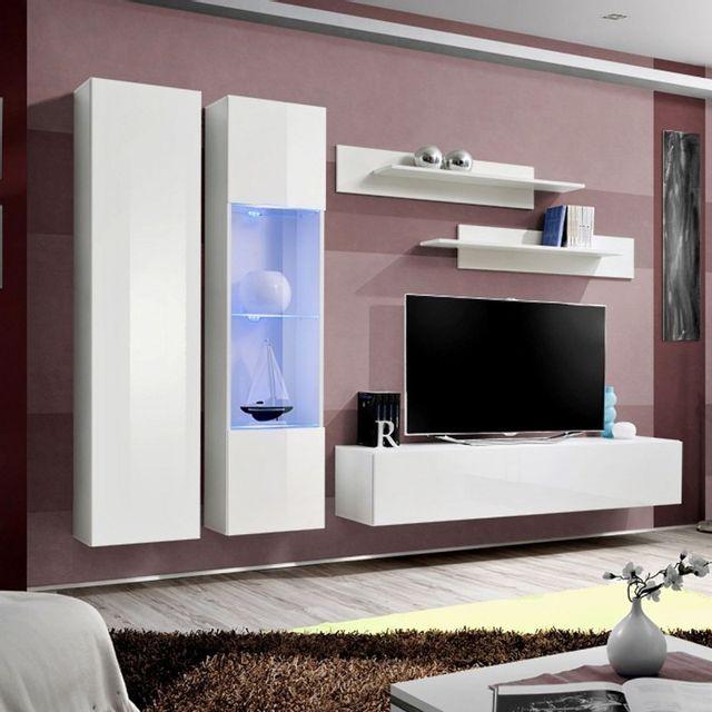 paris prix meuble tv mural design fly v 260cm blanc pas cher achat vente meubles tv hi. Black Bedroom Furniture Sets. Home Design Ideas