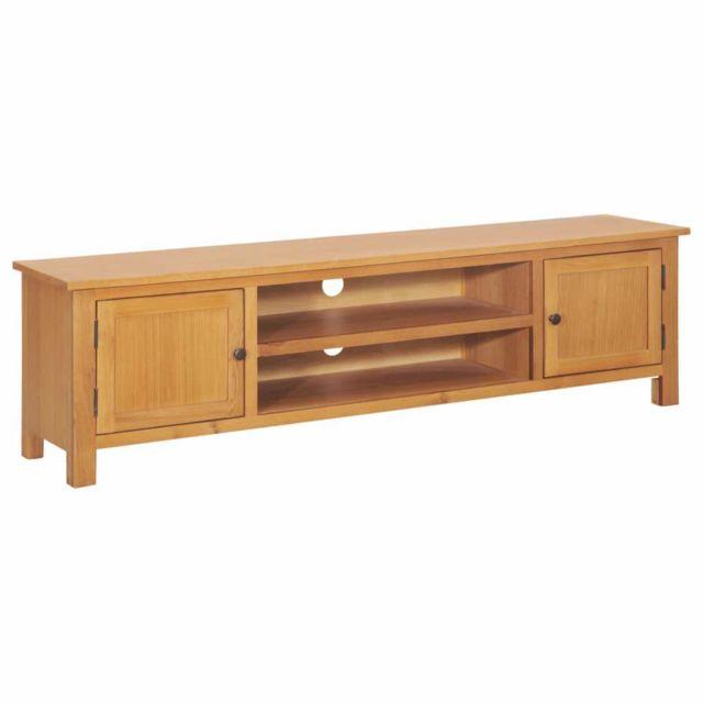 Helloshop26 Meuble télé buffet tv télévision design pratique 165 cm bois de chêne solide 2502011
