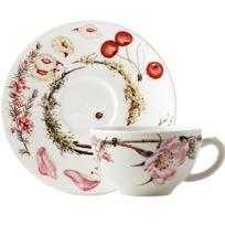 Coffret 2 tasses et soucoupes déjeuner-Bouquet Floral par