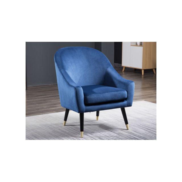 MARQUE GENERIQUE Fauteuil AZALEA en velours - Bleu nuit