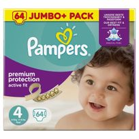 PAMPERS - Active Fit - Couches Taille 4 Maxi, 8-16kg - 64 couches