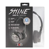 T'nB - Casque Bluetooth ''SHINE'' Noir 4 En 1 : Bluetooth sans fil, Filaire cable auxiliaire inclus, Lecteur de carte micro-SD