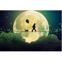 Declikdeco - Tableau Enfant L'enfant, le chat et la lune 80x55