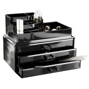 Compactor bo te de rangement bijoux 3 tiroirs noir - Boite compactor ...