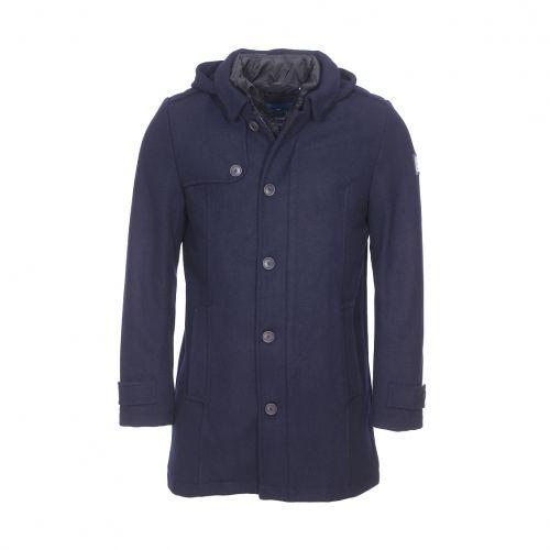 8478d0d17f09c Tom Tailor - Manteau à capuche amovible en laine mélangée bleu marine,  doublure matelassée noire - pas cher Achat   Vente Manteau homme -  RueDuCommerce