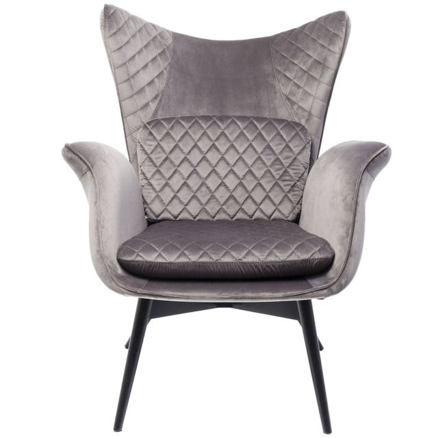 Karedesign Fauteuil Tudor velours gris Kare Design