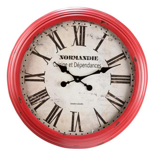 Comptoir De Famille Horloge Murale Ronde En Bois Et Metal Rouge