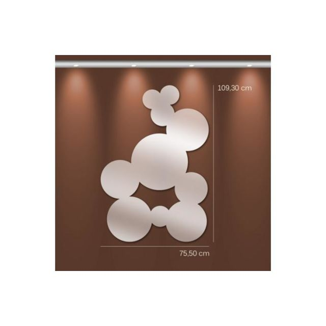 Declikdeco Miroir boules Gm argenté en verre Tobby 109 x 76 cm