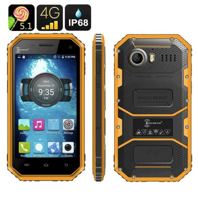 Shopinnov Smartphone Android Robuste 4G Ip68 Double Sim Ecran 4.5 pouces Jaune