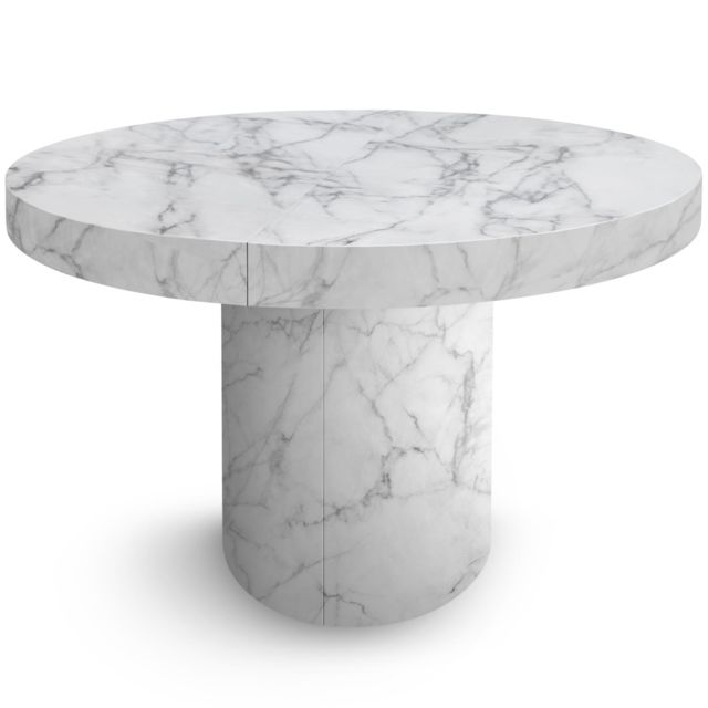 Table Ronde Extensible Suzie Chêne Clair: Table Ronde Extensible Suzie Effet Marbre