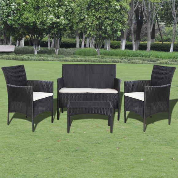 vidaxl salon de jardin noir en polyrotin pas cher achat vente ensembles tables et chaises. Black Bedroom Furniture Sets. Home Design Ideas