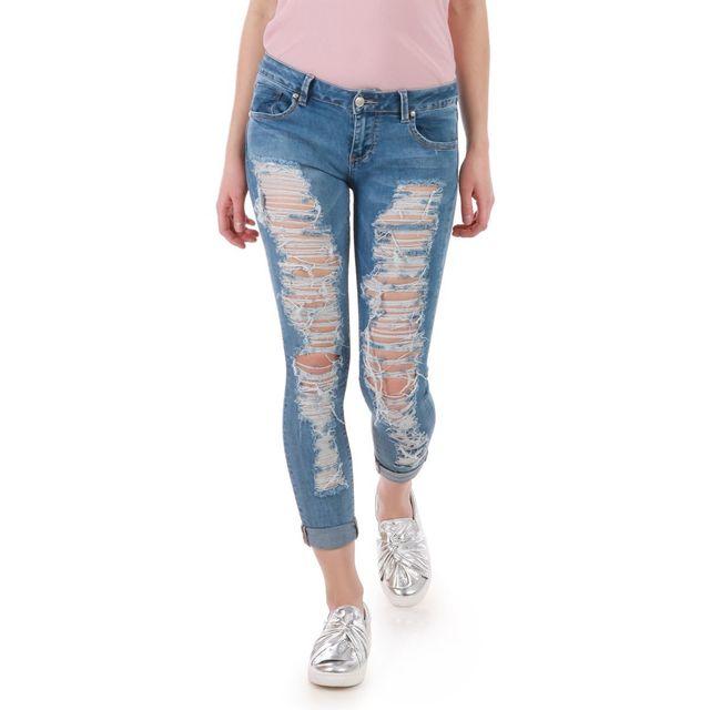 a6872bc6c59e7 Lamodeuse - Jeans skinny bleu déchiré - pas cher Achat   Vente Jeans femme  - RueDuCommerce