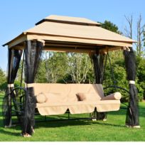 HOMCOM - Balancelle balancoire fauteuil lit de jardin convertible avec moustiquaire 3 places charge max. 360kg en acier sable 84