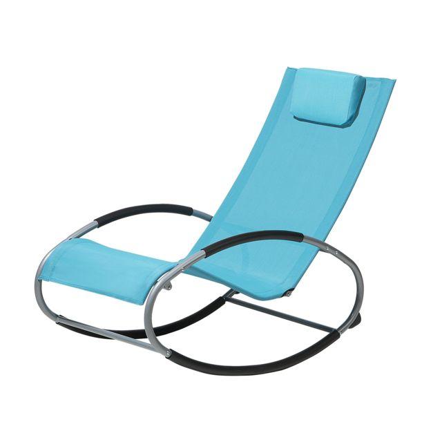 BELIANI Chaise de jardin à bascule bleue CAMPO pas cher