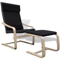 Vidaxl - Fauteuil en bois courbé couleur noir avec repose-pieds
