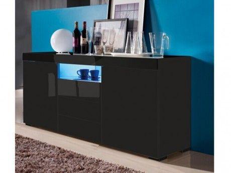 VENTE-UNIQUE - Buffet MERCURE - MDF laqué noir - LEDs - 2 portes & 3 ...