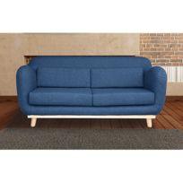 Canapé 3 places fixes pieds bois en tissu - coloris bleu nuit