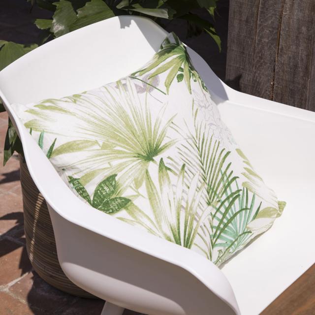 Hartman - Coussin décoratif grand confort pour l'extérieur, 50 x 50 cm épaisseur 16 cm, déhoussable, motif jungle tropicale Vert