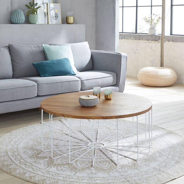 bois dessus bois dessous table basse ronde en bois de teck et m tal 100cm x 40cm x 100cm n a. Black Bedroom Furniture Sets. Home Design Ideas