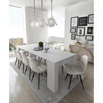 Table Console extensible avec rallonges, jusqu\'à 237 cm, couleur blanc  brillant