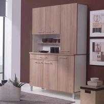 Marque Generique - Buffet de cuisine avec 6 portes et 1 tiroir Largeur 120cm Kitchen - Chêne