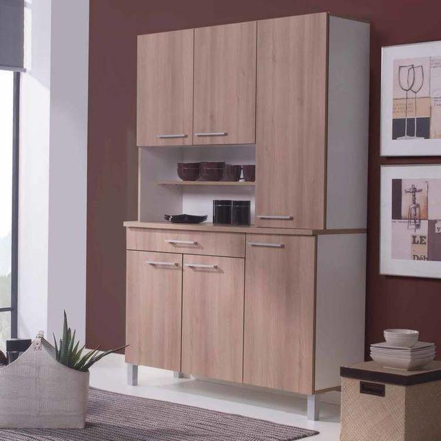 Marque Generique Buffet de cuisine avec 6 portes et 1 tiroir Largeur 120cm Kitchen - Chêne