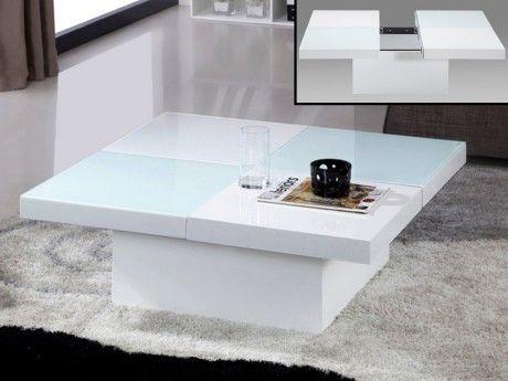 Vente-unique Table basse Calisto avec coffre - Verre trempé et Mdf - Blanche
