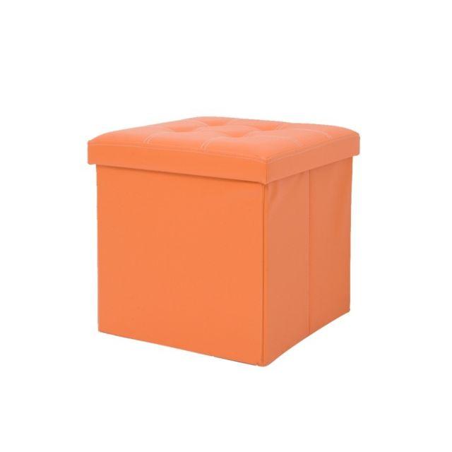 Mobili Rebecca - Pouf Coffre de Rangement Orange Carre Synthétique Salon  Chambre c5dad4aa4c12