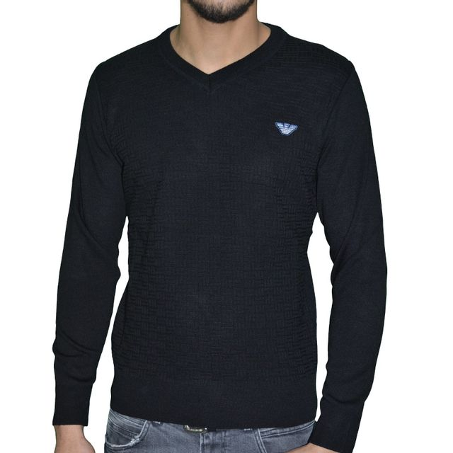 Col Pull Coton Fin Homme Armani Noir Sweater V Jeans 04 t75qnxxHS