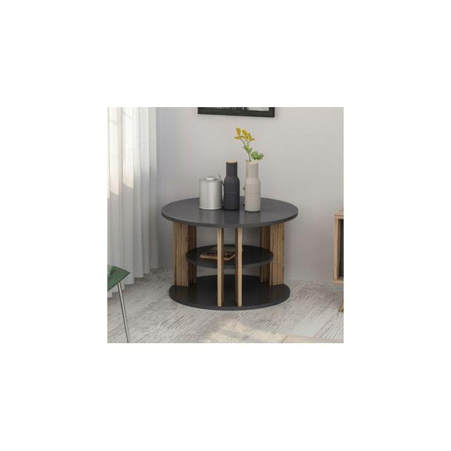 Homemania Table Basse Rilla Rond - avec Étagères - pour Salon - Noyer, Anthracite en Bois, 68 x 68 x 44 cm