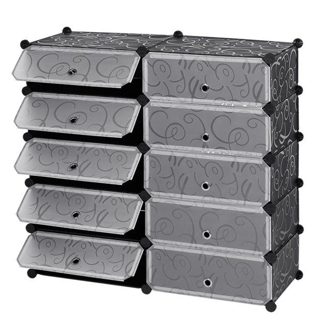 Penderie Etagère à Chaussures Modulable Diy 10 Cubes Meuble Rangement pour  la Sdb Garage Chambre Salon