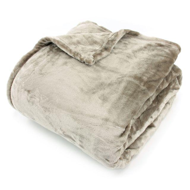linnea couverture polaire 220x240 cm microfibre 100 polyester 320 g m2 velvet marron taupe. Black Bedroom Furniture Sets. Home Design Ideas