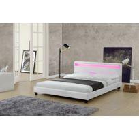 Lit Picadilly 160x200cm - Cadre de lit LED en simili cuir Blanc