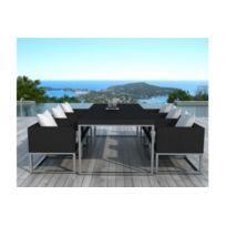 Declikdeco - Table design outdoor + 6 fauteuils noir et blanc Velux