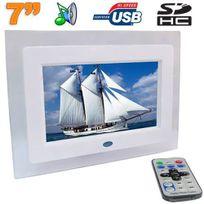 Yonis - Cadre photo numérique 7 pouces 16:9 Usb Carte Sd Lecteur Mp3 Blanc