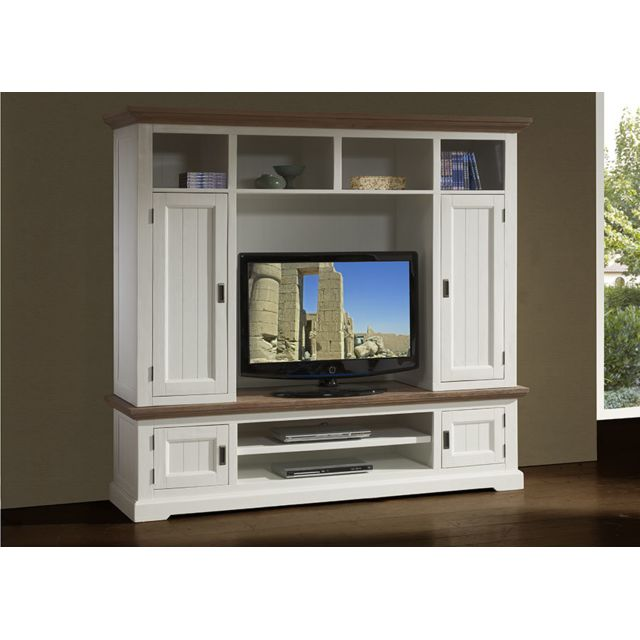 Sofamobili Ensemble meuble Tv contemporain en bois massif blanc Estelle