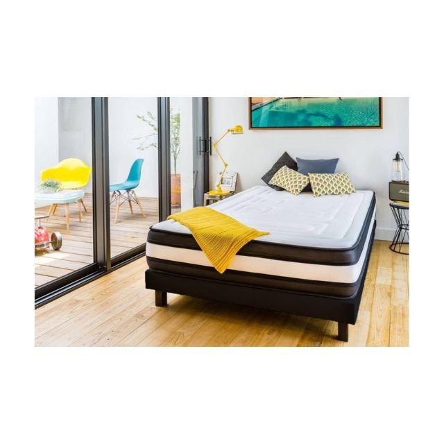 hbedding ensemble matelas m moire sommier 140x190 grand hotel mousse haute densit. Black Bedroom Furniture Sets. Home Design Ideas