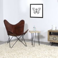 Made In Meubles - Fauteuil Papillon en cuir marron | s19