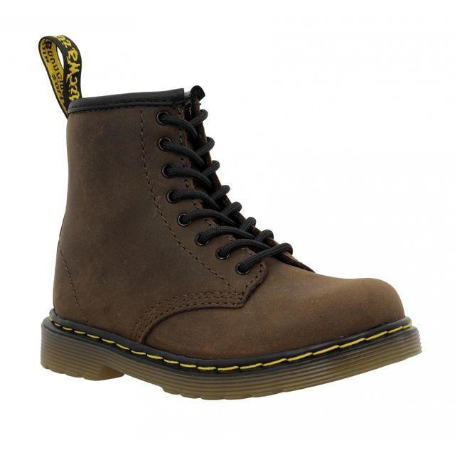 dr martens dr martens delaney cuir gras enfant 32 marron pas cher achat vente boots. Black Bedroom Furniture Sets. Home Design Ideas