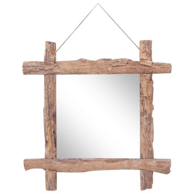 Vidaxl Miroir à bûches Naturel 70x70 cm Bois de récupération massif