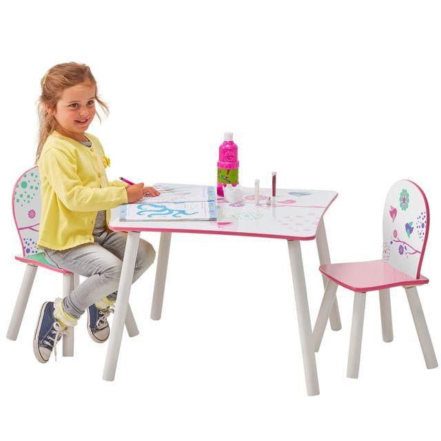 Ensemble table et 2 chaises Fille Oiseau