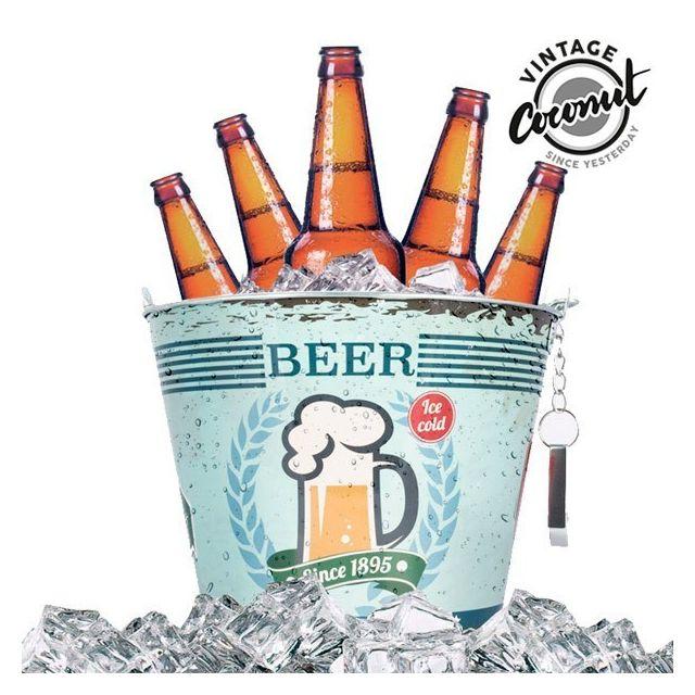 Totalcadeau Seau Métallique avec Ouvre-Bouteille Vintage - Seau à bierre rétro et alcool