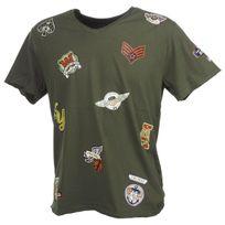 Crossby - Tee shirt manches courtes Patch kaki mc tee Vert 58425