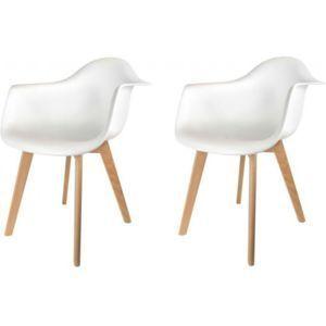 declikdeco lot de 2 chaises scandinaves avec accoudoir blanches fjord pas cher achat vente. Black Bedroom Furniture Sets. Home Design Ideas