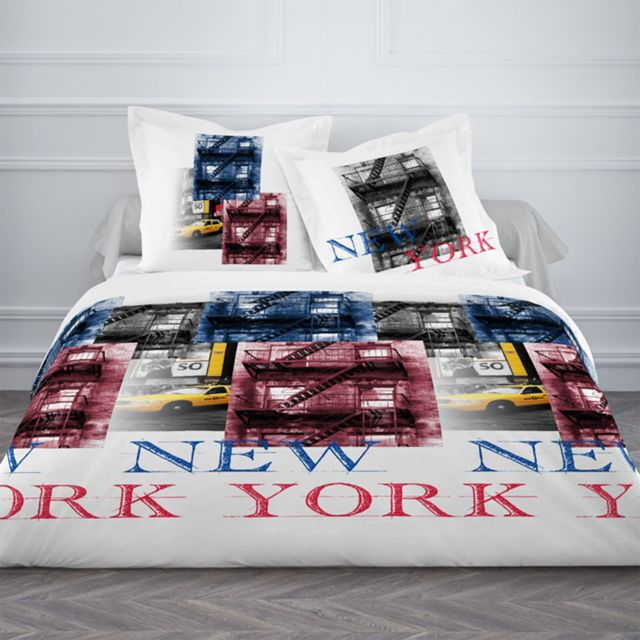 Today Housse De Couette 220x240 2 Taies Ny Brooklyn 100coton