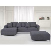 BELIANI - Canapé d'angle D - canapé avec pouf en tissu gris foncé - sofa Oslo