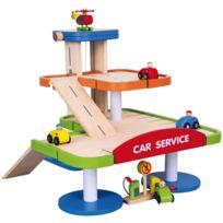 Milly Mally - Station-service garage parking 2 niveaux circuit des véhiciules en bois enfant 3ans+ | Multicolore