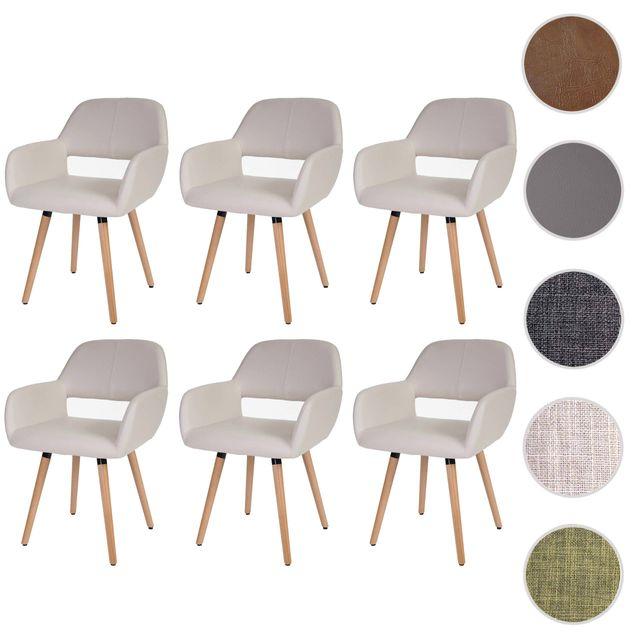Mendler 6x chaise de salle à manger Altena Ii, fauteuil, design rétro des années 50 ~ similicuir, crème